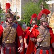 Roman Soldiers Patrol the Park